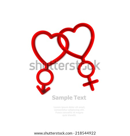 male and female in love symbol, vector illustration - stock vector