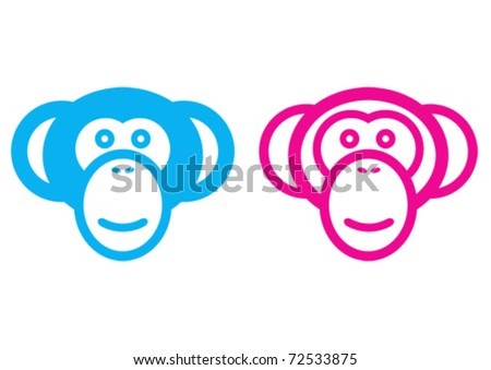 Male and female monkey vector signs. - stock vector
