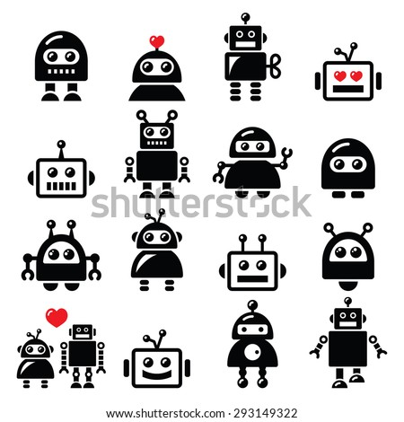Male and female robot, Artificial Intelligence (AI) icons set  - stock vector