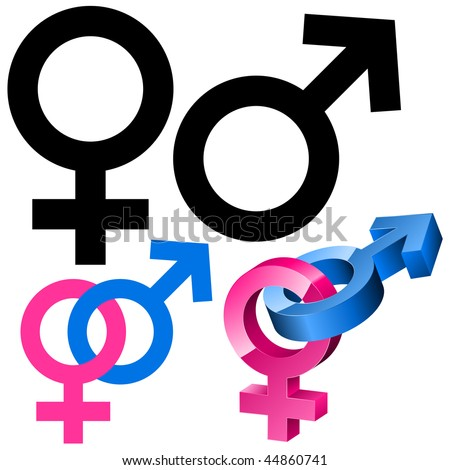 Male and female signs isolated on white background. - stock vector