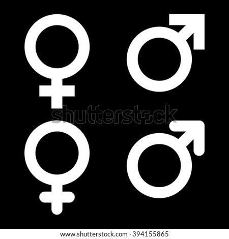 Male Female Symbol Set On Black Stock Vector 394155865 Shutterstock