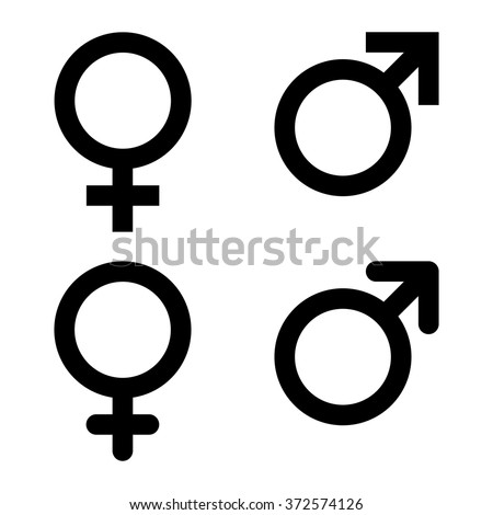 Male and female symbol set . Vector illustration - stock vector