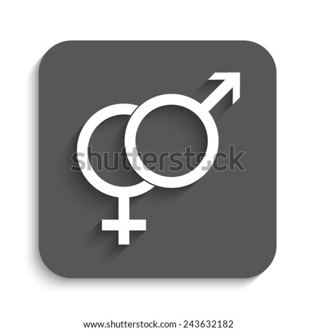 Male and female symbol  - vector icon with shadow on a grey button - stock vector