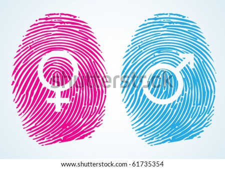 Male and Female Symbols in thumbprint - stock vector