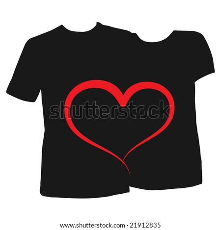 Male and female t-shirts with designs. Valentine ,heart, couple theme - easily editable - stock vector