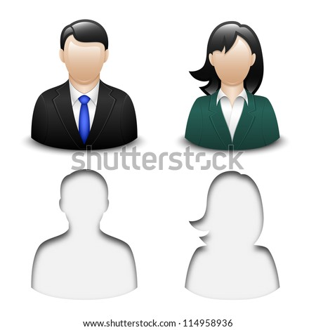 Male and female user icons. Vector - stock vector