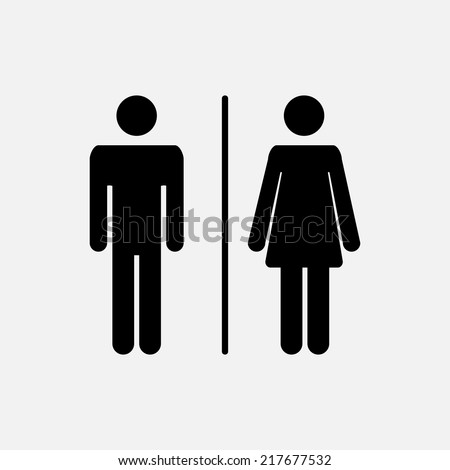 Male and female WC icon denoting toilet and restroom facilities for both men and women with black male and female silhouetted figures - stock vector