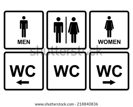 Male and female WC icon denoting toilet and restroom facilities for both men and women with black male and female,arrows,pointer, silhouetted figures - stock vector