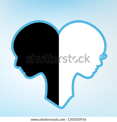 male and female yin and yang - stock vector