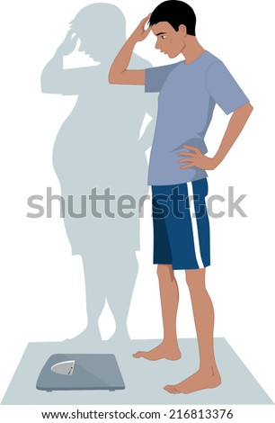 Male Anorexia. Young skinny man anxious to step on a scales because of his distorted body image  - stock vector