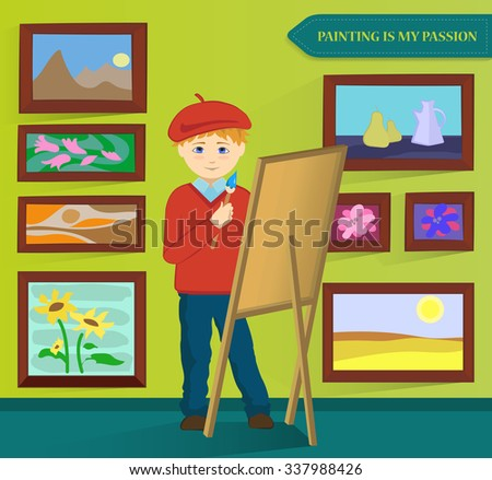 Male artist painting in his workroom. Vector. - stock vector