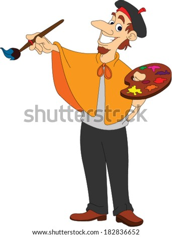 Male Artistic Painter - stock vector