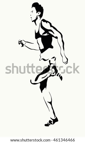 male athlete, vector illustration of running dynamics