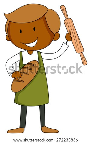 Male baker with bread and roller in his hands - stock vector