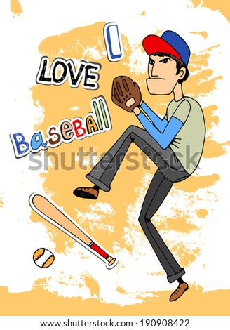 Male baseball player in a - I Love baseball - card design with a fielder about to throw a ball  vector illustration - stock vector