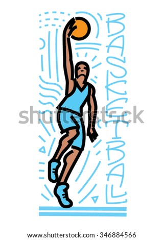 Male basketball player in action. Outline style - stock vector