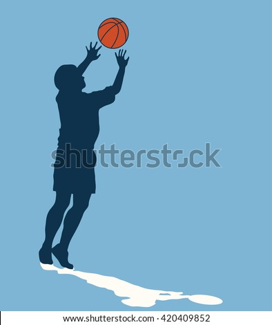Male basketball player silhouette with color ball on blue background, jumping for shot, concept of hope