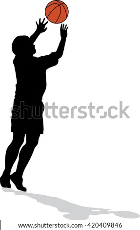 Male basketball player silhouette with color ball on white background, jumping for shot, concept of hope - stock vector