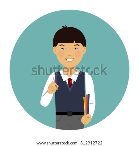 Male character, portrait of smiling Asian schoolboy - stock vector