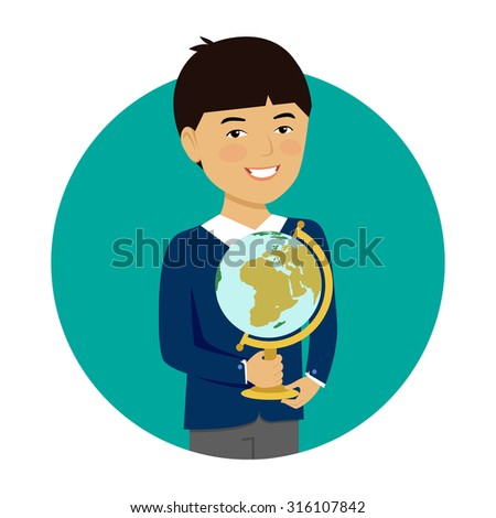 Male character, portrait of smiling Asian schoolboy holding globe - stock vector