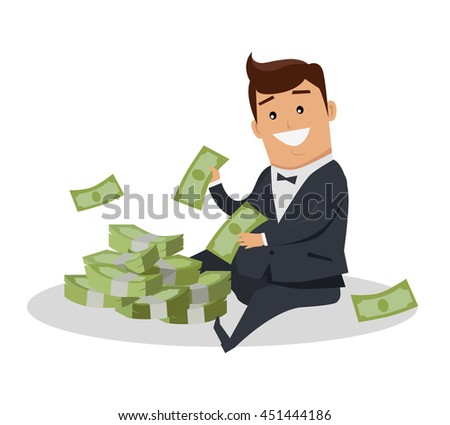 Male character with stack of money vector. Flat style design. Smiling man in business suit sitting near pile of dollar banknotes. Investment, wages, income, credit, savings, charity, wealth concept. - stock vector
