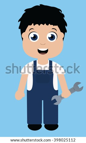 Male character with wrench - stock vector