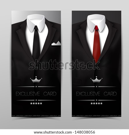 Male clothing suit. Exclusive card. Vector Illustration, eps10, contains transparencies. - stock vector