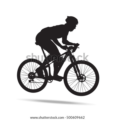Male cross country mountain bike marathon rider. Composed attack posture. Side view profile silhouette outline. Active sports.