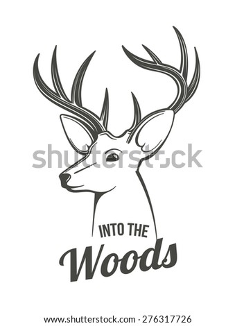 Male deer head graphic monochrome illustration. Black outlines isolated on white. - stock vector