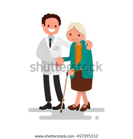 Male doctor helping a grandmother with a cane. Vector illustration of a flat design - stock vector