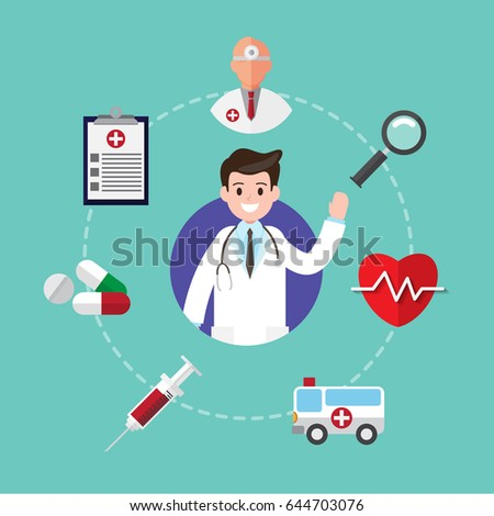 Health caring child pediatrician mother son stock vector for Medical design consultancy