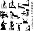 Male Exercise Vector Silhouettes - stock vector
