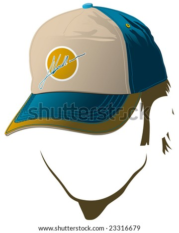 Male face with baseball cap - stock vector