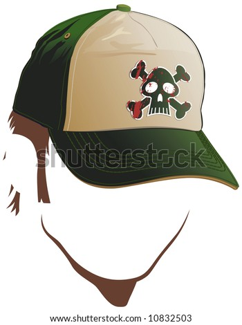 Male face with skull cap - stock vector