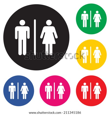 Male Female Restroom Symbol Icon with Color Variations.