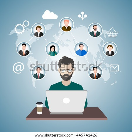 male freelancer working remotely with clients.vector illustration