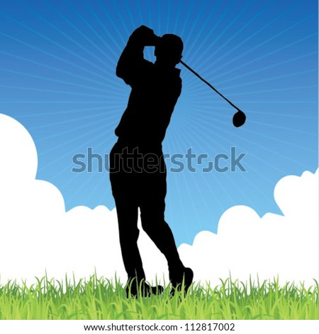 male golf player - web and print template - stock vector