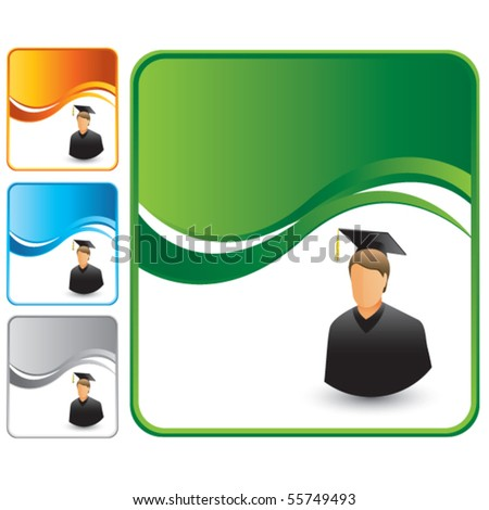 male graduate colored wave backgrounds - stock vector