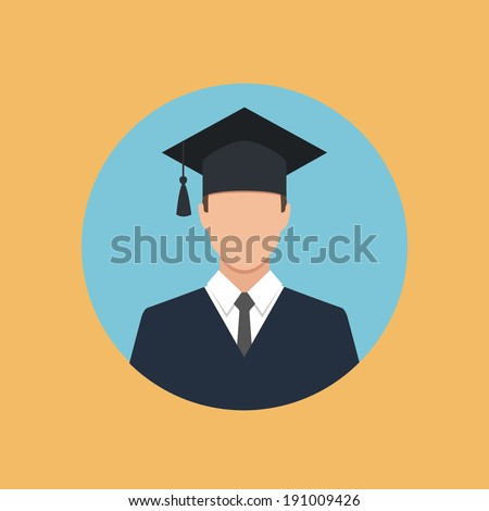 male graduate in gown and graduation cap icon. colorful flat style vector illustration - stock vector