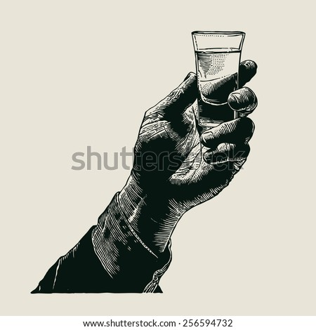 Male hand holding a shot of alcohol drink. hand drawn design element. engraving style. vector illustration - stock vector
