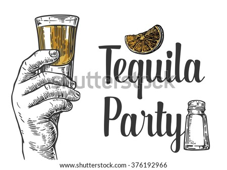 Male hand holding a shot of alcohol drink. Vintage vector engraving illustration for label, web, poster, invitation to a tequila party