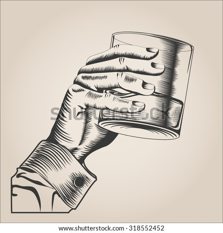 Male hand holding glass alcohol drink. hand-drawn design element. engraving style. Vector Illustration - stock vector