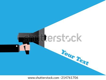 Male hand holding loudspeaker - stock vector