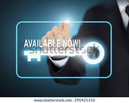 male hand pressing available now key button over blue abstract background - stock vector