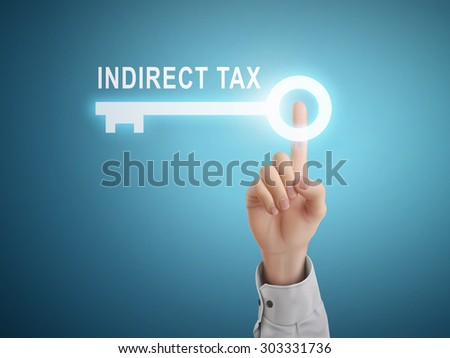 male hand pressing indirect tax key button over blue abstract background  - stock vector