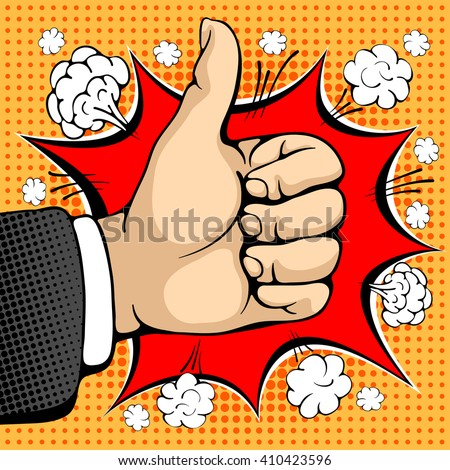 Male hand shows like sign. Like concept sign. I like that. Seal of approval. Pop art design concepts for web banners, web sites, printed materials. Vector illustration in retro style pop art. - stock vector