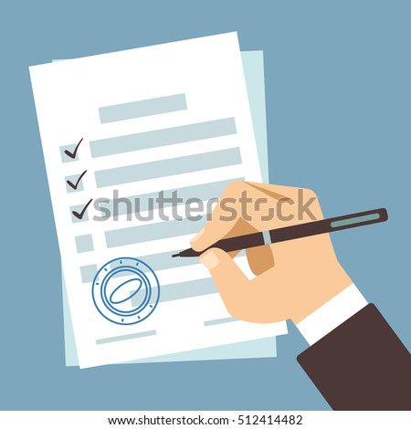 Male hand signing document, man writing on paper contract,  filling tax form vector illustration