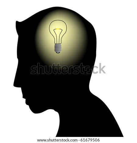 Male head silhouette with bulb - stock vector