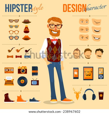 Male hipster character pack with geek fashion trendy elements isolated vector illustration - stock vector