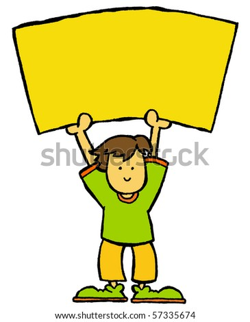 male holding signboard - stock vector